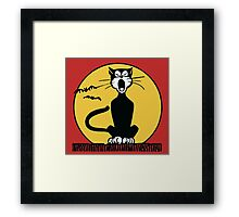 Retro Halloween Howling Cartoon Cat with Orange Moon Framed Print