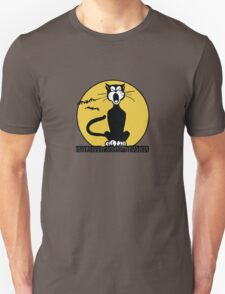 Retro Halloween Howling Cartoon Cat with Orange Moon T-Shirt