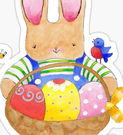 little bunny with his basket Sticker