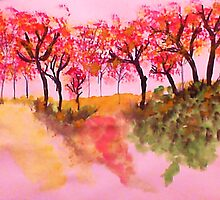 Casual Fall Trees on a Hill in watercolor by Anna  Lewis, blind artist