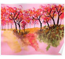 Casual Fall Trees on a Hill in watercolor Poster