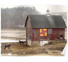 Quilted Horse Barn Poster
