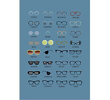 Glasses - Blue Background Photographic Print