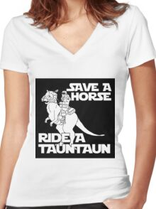 Save a horse, ride a tauntaun Women's Fitted V-Neck T-Shirt