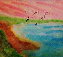 Birds Eye View,Blacks Beach?  watercolor by Anna  Lewis