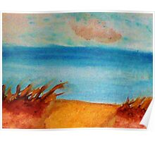 Down by the Shore on the Path, watercolor Poster