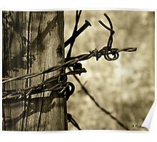 Don't Fence Me In 2 - Barbed wire on post in sepia Poster