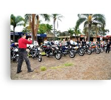Line up at Classic Motorbike Rally Cundletown. Canvas Print