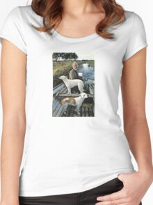 Beard Man Dogs Boat Women's Fitted Scoop T-Shirt