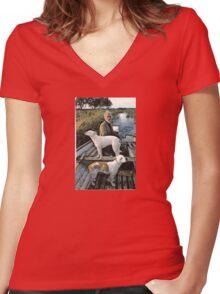 Beard Man Dogs Boat Women's Fitted V-Neck T-Shirt
