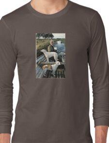 Beard Man Dogs Boat Long Sleeve T-Shirt