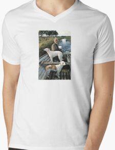 Beard Man Dogs Boat Mens V-Neck T-Shirt