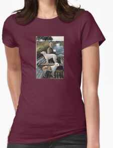 Beard Man Dogs Boat Womens Fitted T-Shirt