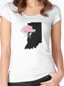 Indiana Silhouette and Flowers Women's Fitted Scoop T-Shirt