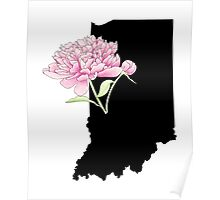 Indiana Silhouette and Flowers Poster