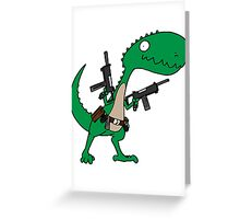 Dino with Guns Greeting Card