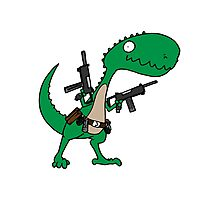 Dino with Guns Photographic Print