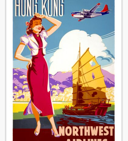 Hong Kong Vintage Travel Poster Restored Sticker