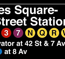 Times Square - 42 Street Station Subway Sign by annekulinski