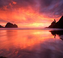 Piha Turns Pink by Michael Treloar