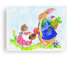 Easter Rabbit and Heddy hedgehog Canvas Print