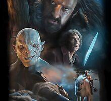 The Hobbit: Thorin, Bilbo and Azog by GraphiteGirl