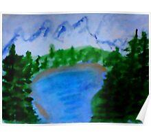 Lake Tahoe?  in California, watercolor Poster