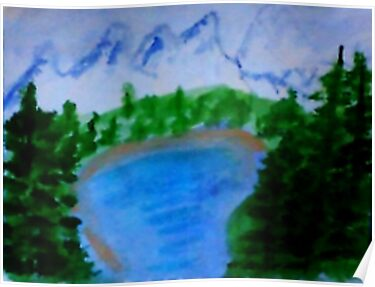 Lake Tahoe?  in California, watercolor by Anna  Lewis
