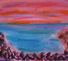 Small Rocks on Shoreline, Looking Out to Sea, watercolor by Anna  Lewis, blind artist