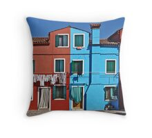 Burano-washing day Throw Pillow
