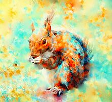 Squirrel at Breakfast by rosalin