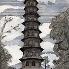 44 - THE PAGODA - KEW GARDENS - WATERCOLOUR &amp; INK - DAVE EDWARDS - 1986 by BLYTHART