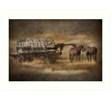 Covered Wagon. Relic of the Pioneers. Montana. USA. Art Print