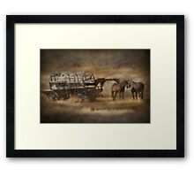 Covered Wagon. Relic of the Pioneers. Montana. USA. Framed Print