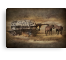Covered Wagon. Relic of the Pioneers. Montana. USA. Canvas Print