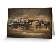 Covered Wagon. Relic of the Pioneers. Montana. USA. Greeting Card