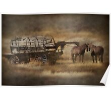 Covered Wagon. Relic of the Pioneers. Montana. USA. Poster