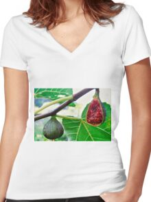 figs on the tree Women's Fitted V-Neck T-Shirt