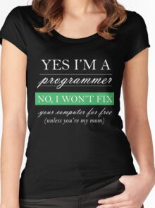 Yes I'm a programmer - white Women's Fitted Scoop T-Shirt