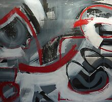 Charcoal and Acrylic Abstraction 5 by Josh Bowe