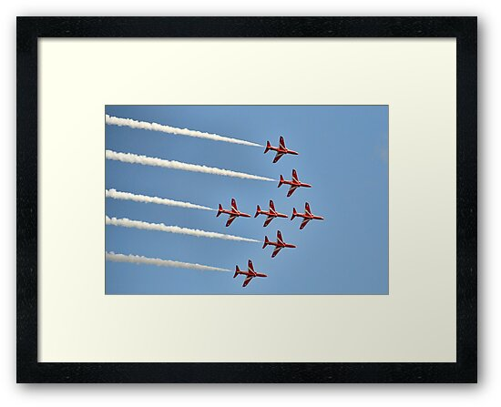 Red Arrows Over Lyme, Dorset Uk -2 by lynn carter