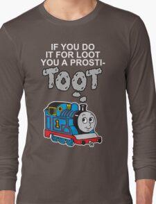Prosti-TOOT! White Text Long Sleeve T-Shirt