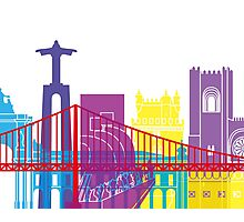 Lisbon skyline pop Photographic Print