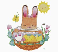 little girl bunny and basket by paintpaintdraw
