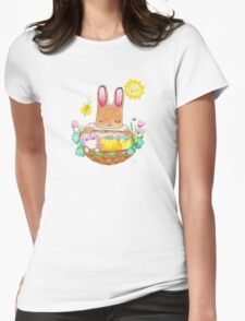 little girl bunny and basket Womens Fitted T-Shirt