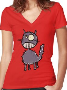 the cat is easily scared Women's Fitted V-Neck T-Shirt