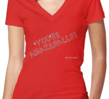 You're Amazeballs! (*with coffee) - Color Friendly Women's Fitted V-Neck T-Shirt