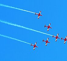 RAAF Roulettes in Vulcan Formation - Avalon 2011 by Bev Pascoe
