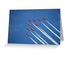 Red arrows flying 'V' (RIAT 2009) Greeting Card
