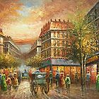 Paris Street Oil Painting HS0208 by yelia0722